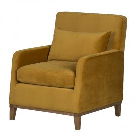 Fauteuil Blomma - Velours jaune moutarde - Noyer, Jack and Alice