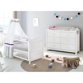 Ensemble de chambre de bébé Nina Kids (2 éléments) - Pin massif - Blanc, Pinolino