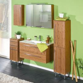 EEK A+, Ensemble de meuble de salle de bain Bern - Bambou verni naturel Lot de 4, Schildmeyer