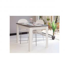 VENTE-UNIQUE Table à manger CASSY II - 4 couverts - Blanc, plateau effet béton