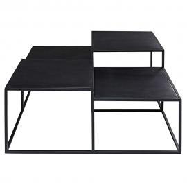 Table basse 4 plateaux en métal noir Edison