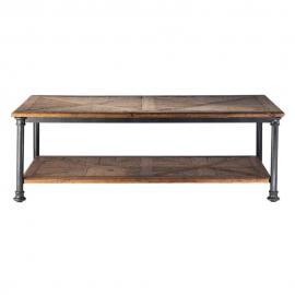 Table basse en sapin recyclé et métal Fontainebleau
