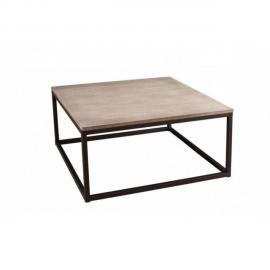 Inside 75 Table basse industrielle carrée 90 x 90 cm Lea en bois de paulownia et en métal