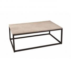 Inside 75 Table basse industrielle rectangulaire 115 x 65 cm Lea en bois de paulownia et en métal