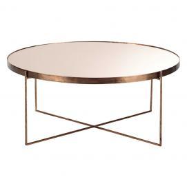 Table basse ronde avec miroir en métal cuivré Comete
