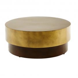 Table basse ronde en métal doré et marron Moka