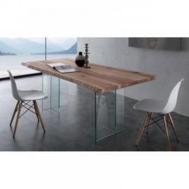 Inside 75 Table repas Tio Glass en bois massif piétement en verre