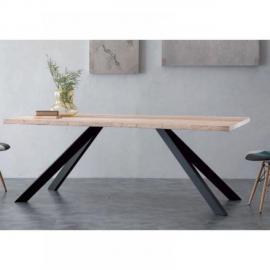 Inside 75 Table repas Bio Metal en bois massif piétement en métal