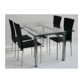 Inside 75 Table repas extensible New York verre et acier 160 x 90 cm