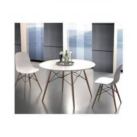 Inside 75 Table de repas Schell 100cm mélaminé blanc satiné pied bois