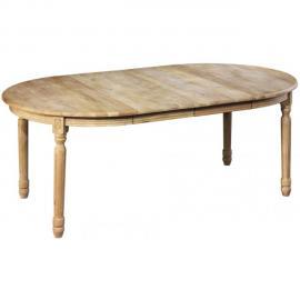 HELLIN Table ronde + 5 allonges - bois chêne patiné massif