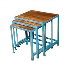 Tousmesmeubles Tables gigognes Acier et bois de Palissandre - Denver - L 58 x l 40 x H 51