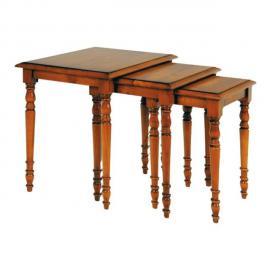 Tousmesmeubles Tables gigognes bois fumé et métal - Filla - L 35 x l 35 x H 110