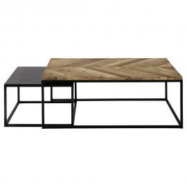 Tables gigognes en bois recyclé et métal Chevron