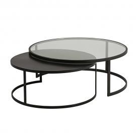 Tables gigognes en verre trempé et métal noir Eclipse