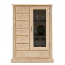 Armoire vitrine Breddin I - Pin massif - Sans éclairage, Ars Natura