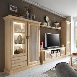 Ensemble de meubles TV Breddin II (4 éléments) - Pin massif - Sans éclairage, Ars Natura