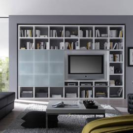 Ensemble meuble TV Empire - Blanc brillant - Porte vitrée coulissante, loftscape