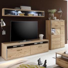 Mur TV Lopburi (3 éléments) - Imitation chêne Bianco partiellement massif / Ardoise, Jung und Söhne