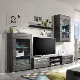 EEK A+, Ensemble de meubles TV Tadeus I (4 éléments) - Avec éclairage Gris brillant /, loftscape