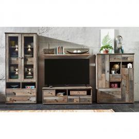 EEK A+, Ensemble de meubles TV Tapara (4 éléments) - Avec éclairage - Marron / Gris, roomscape