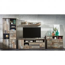 Ensemble de meubles TV Tapara (4 éléments) - Marron / Gris, roomscape