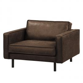 Grand fauteuil Fort Dodge - Aspect cuir vieilli - Marron, ars manufacti