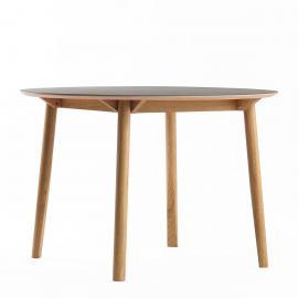 Profoli Flusso - Houten eettafel - ø 120 cm - Zwart linoleum - Combineer met de Muuto Base tafel Scandinavisch massief hout