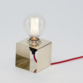 LJ Lamps Pi Square Brass - Messing tafellamp - - Lamp - Metaal - Vierkant - Goud - Design