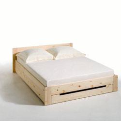 Cama de pino macizo con somier y cajón Crawley