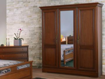 Armario con espejo LAUREL - Largo 178 cm - 3 puertas - Color cerezo