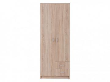 Armario OLESSIA - 2 puertas y 2 cajones - L.80 cm - Castaño