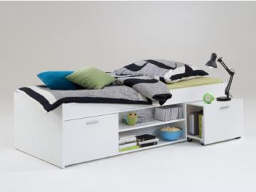 Cama con compartimentos ALORA - 90x200 cm  - Blanco