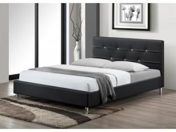 Estructura de cama GABIN - 140x190 cm - Piel sintética - Negro