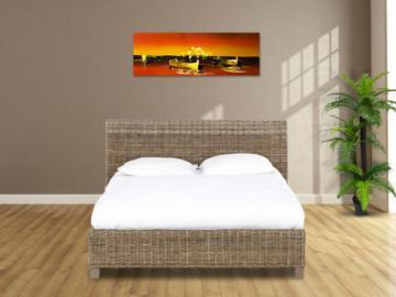 Estructura de cama SAVANA II - 140x190 cm - Mimbre trenzado y madera de mango