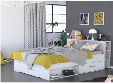 Estructura de cama LEONIS con espacios de almacenaje - 140x190 cm - Blanco