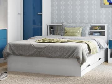 Cama BORIS con espacios de almacenaje - Blanco - 140x190 cm