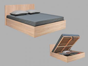 Cama con canapé abatible ELPHEGE -  160x200 cm - Color roble blanqueado