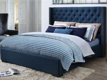 Cama MASSIMO con cabecero acolchado - 160 x 200 cm - Tela azul