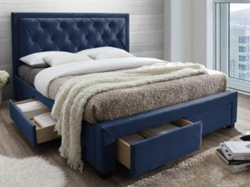 Cama con cajones LEOPOLD - Tela azul - 160x200cm