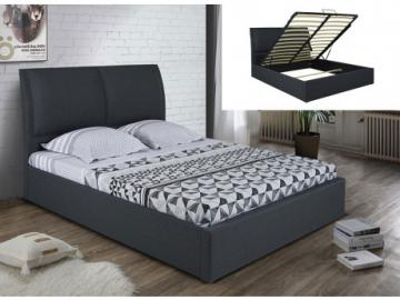 Cama con canapé abatible ALCEO - Tela gris antracita - 160x200cm