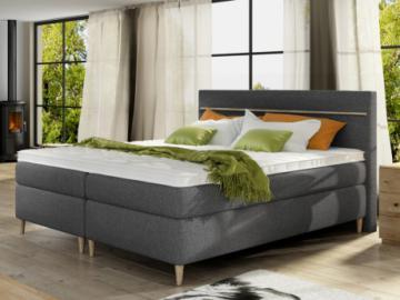 Conjunto boxspring cabecero + somier + colchón + sobrecolchón LUND de DREAMEA - Tela gris - 2x80x200cm