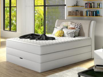 Conjunto boxspring de cabecero + somier abatible + colchón + cubre colchón GRANDIOSE de DREAMEA - Tela gris claro - 140x200cm