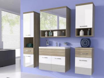 Conjunto de baño LUISA - Muebles + espejo + lavabo - Lacado blanco/madera