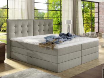 Pack boxspring de cabecero + somier abatible + colchón + cubre colchón PLAISIR de PALACIO - tela beige - 2x80x200cm