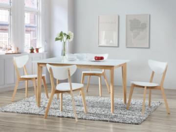 Mesa de comedor extensible CARINE - 6 a 8 comensales - Hevea maciza y MDF - Color blanco