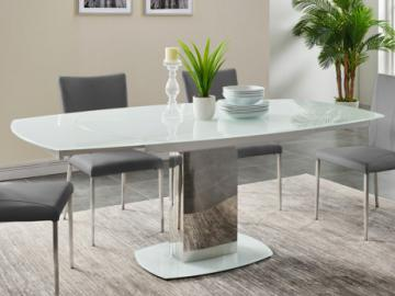 Mesa de comedor extensible TALICIA - Cristal templado y metal - 6 a 8 cubiertos - Color Blanco