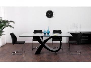 Mesa de comedor ETREINTE - 8 comensales - MDF & cristal templado - Negro