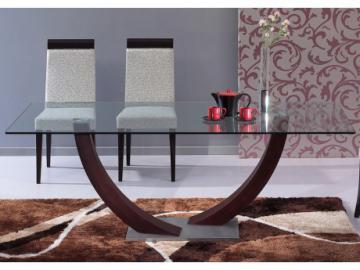 Mesa de comedor MELODIE - 6 comensales - Madera y cristal templado