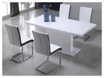 Mesa de comedor SOLISTE - 6 comensales - MDF lacado blanco
